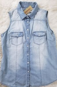 American Rag Denim Pearl Shirt Size Large